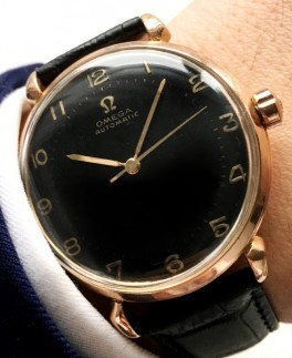 Omega Automatic Bumper black dial pink gold-20