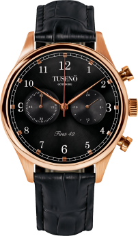Tusenö Rose Gold/Black Black Alligator strap-20