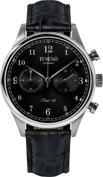 Tusenö First 42 Silver/Black Black Alligator Strap-20