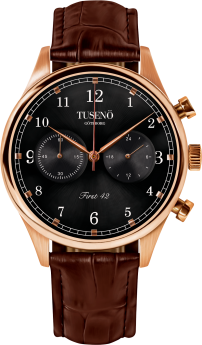 Tusenö FIRST 42 ROSE GOLD/BLACK BROWN Alligator STRAP-20
