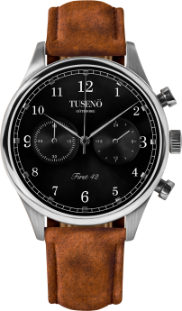 Tusenö FIRST 42 SILVER/BLACK BROWN SUEDE STRAP-20