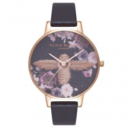 Olivia Burton Embroidered Dial Black and Rose Gold-20