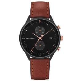Paul Hewitt Chrono Line Black Sunray Rose Gold Brown Leather-20