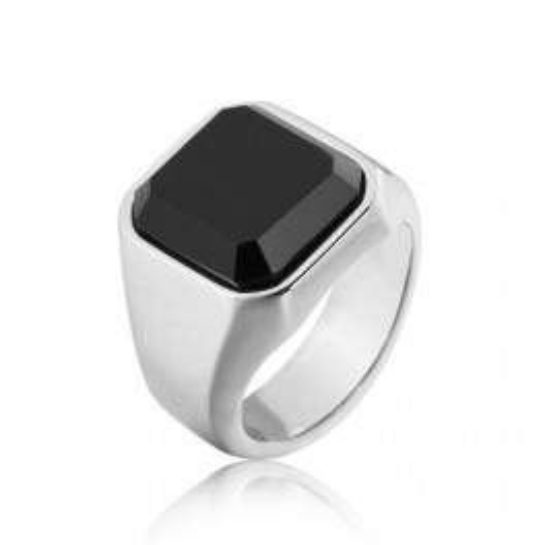Sølv ring med sort sten til mænd-20