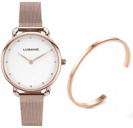 Lugano Rose Gold Mesh White Gavesæt Med Rose Gold Cuff-20