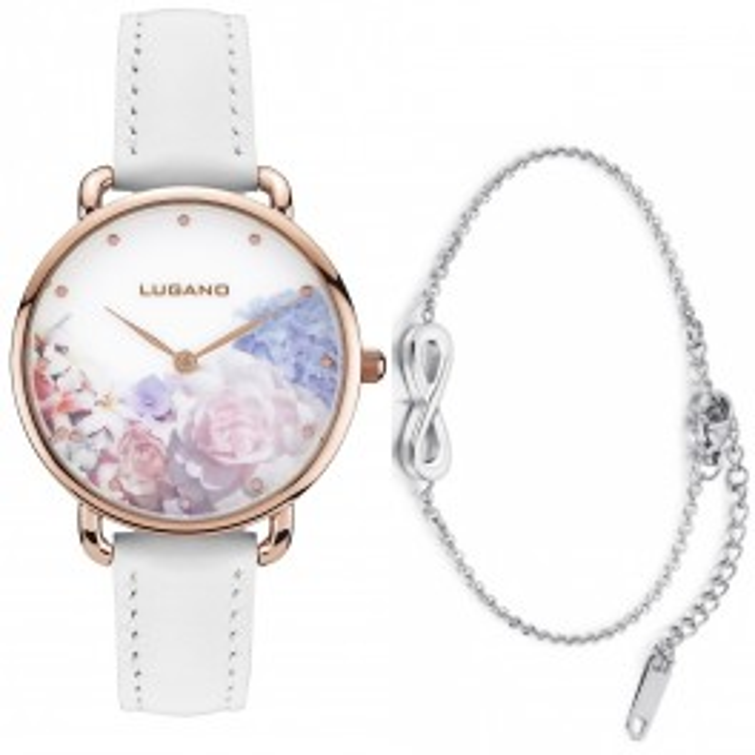 Lugano White Floral med Klassisk sølv armbånd-20