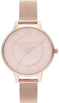 Olivia Burton Wonderland Blush Dial and Pale Rose Gold Mesh Watch-20