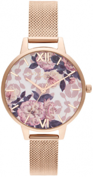 Olivia Burton Flower Pale Rose Gold Mesh-20