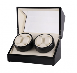 Watch winder i sort piano træ til 4 ure m. beige-20