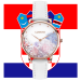 Lugano Rose Gold White leather Floral