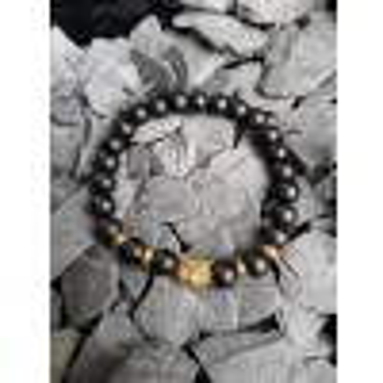 Armbånd til mænd sorte sten og guld-016