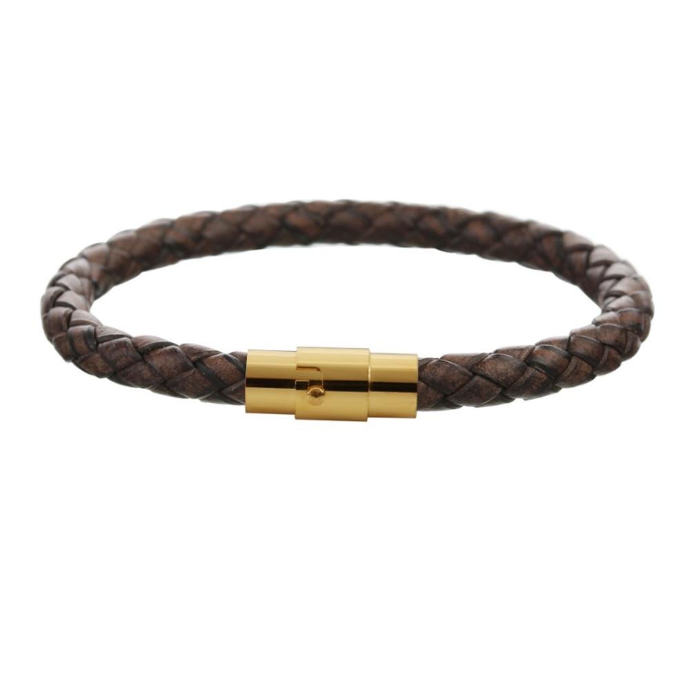 Image of   Brunt læder armbånd med guld lås