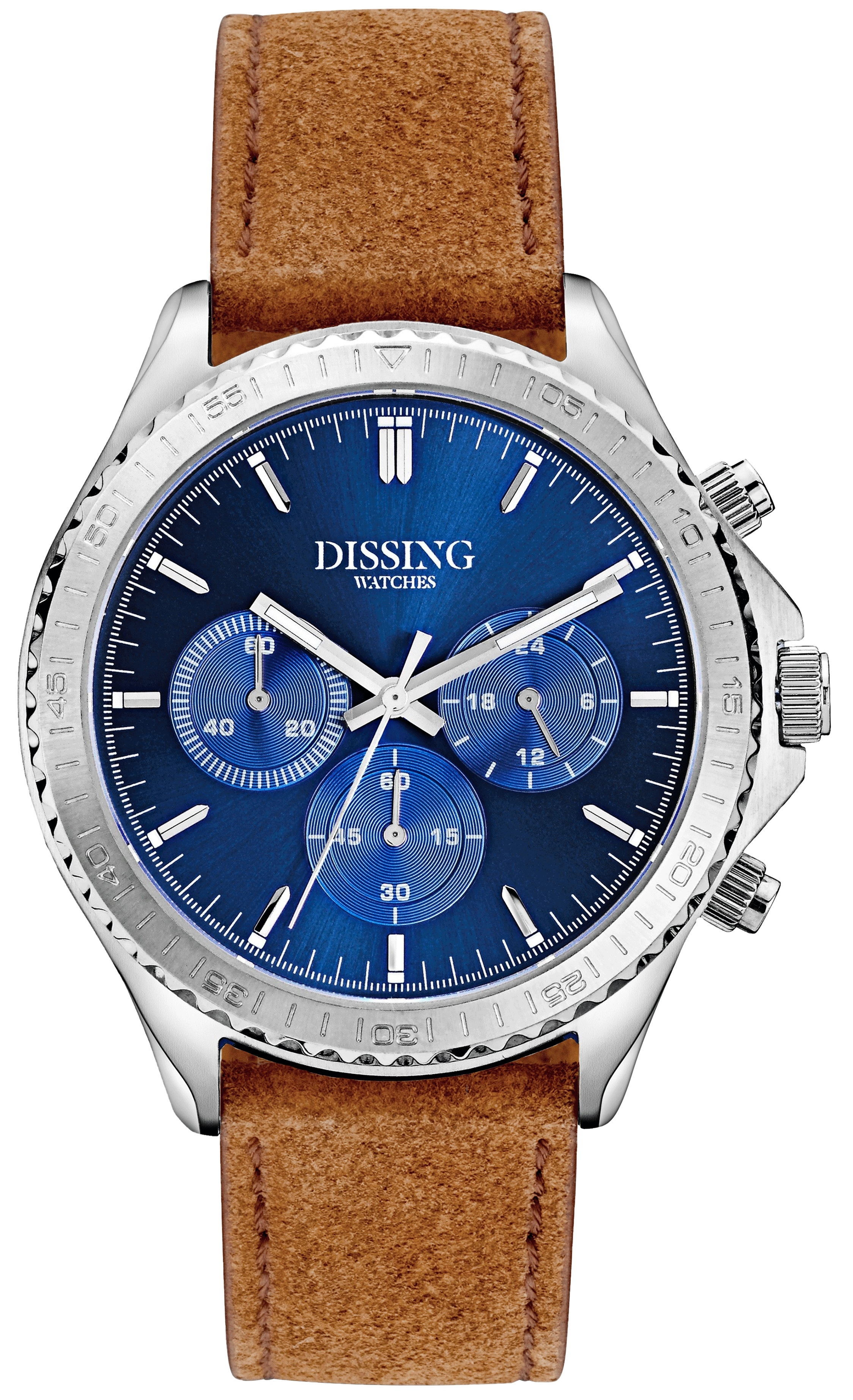 Image of   Dissing Chrono Leather Silver/Blue