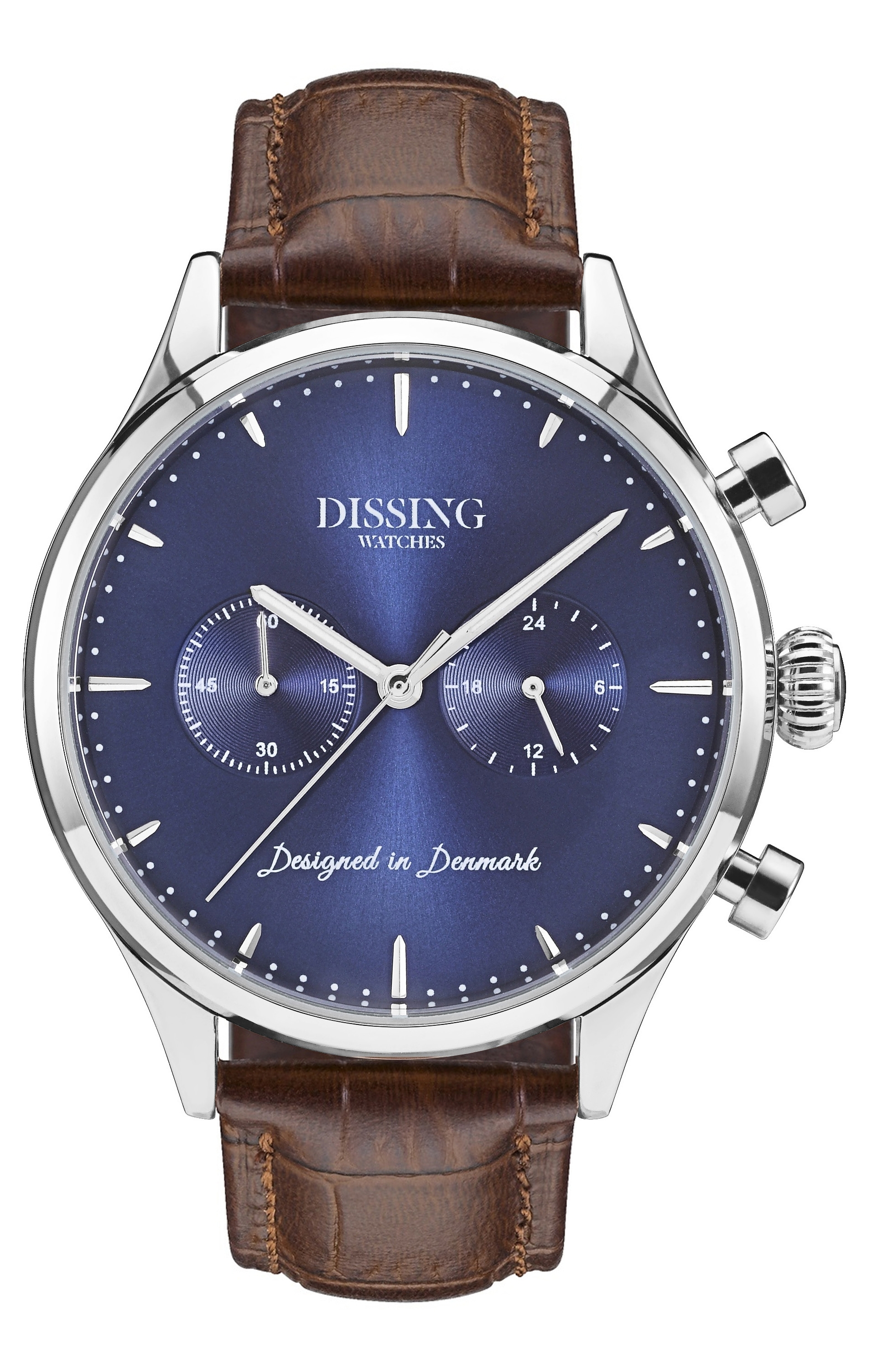 Image of   Dissing Brown Leather Silver/Blue