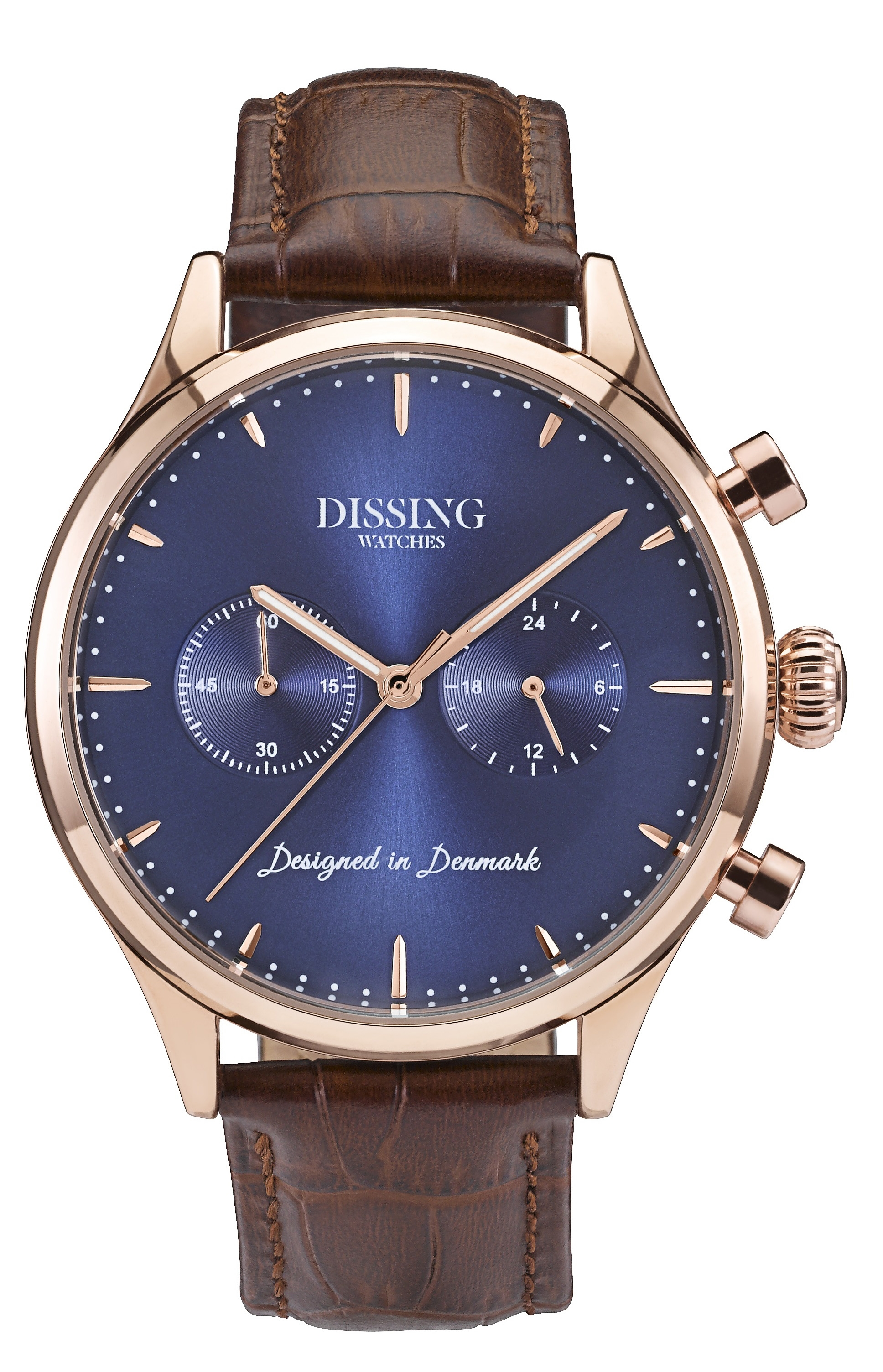 Image of   Dissing Brown Leather Gold/Blue