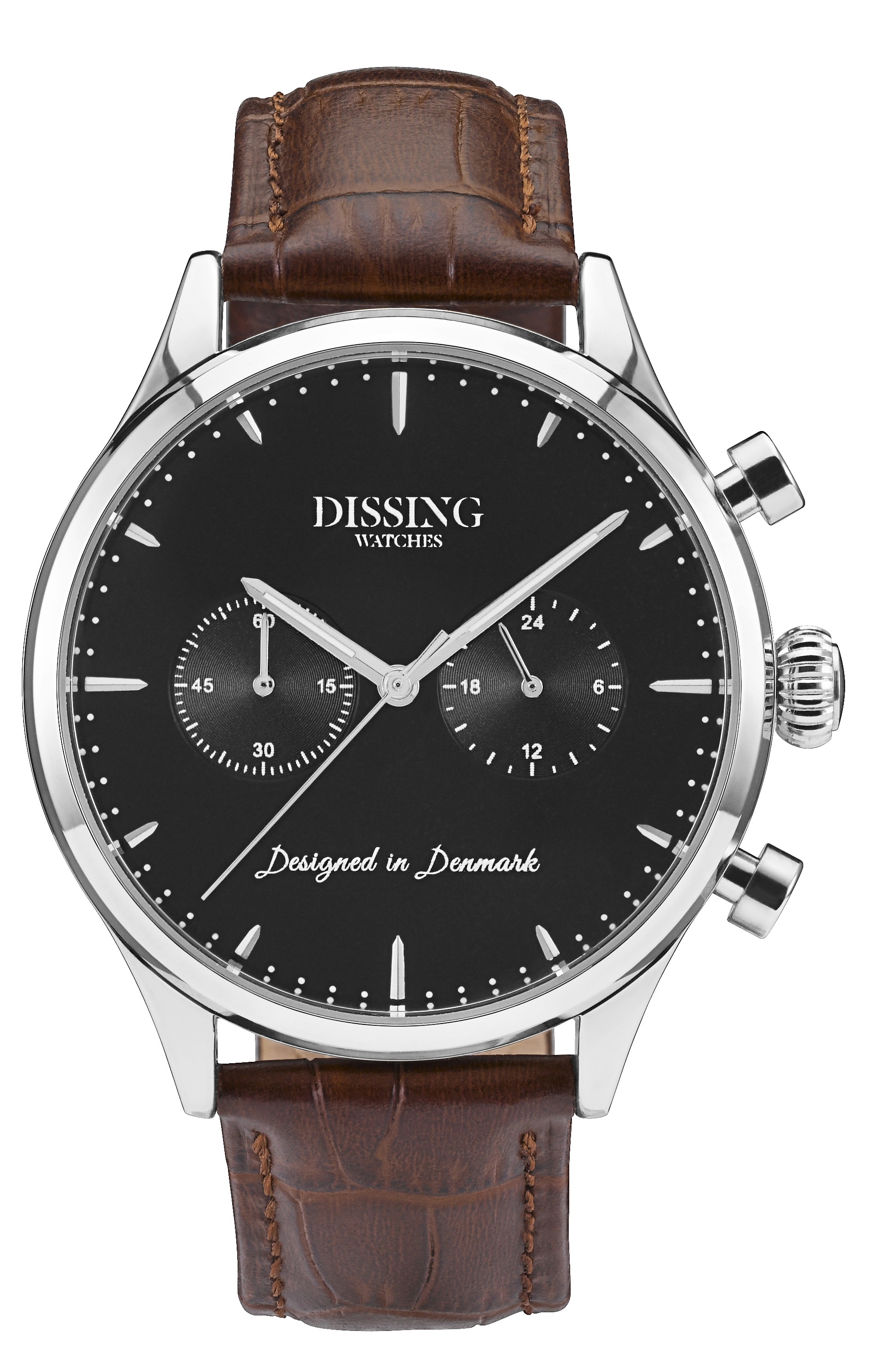 Image of   Dissing Brown Leather Silver/Black