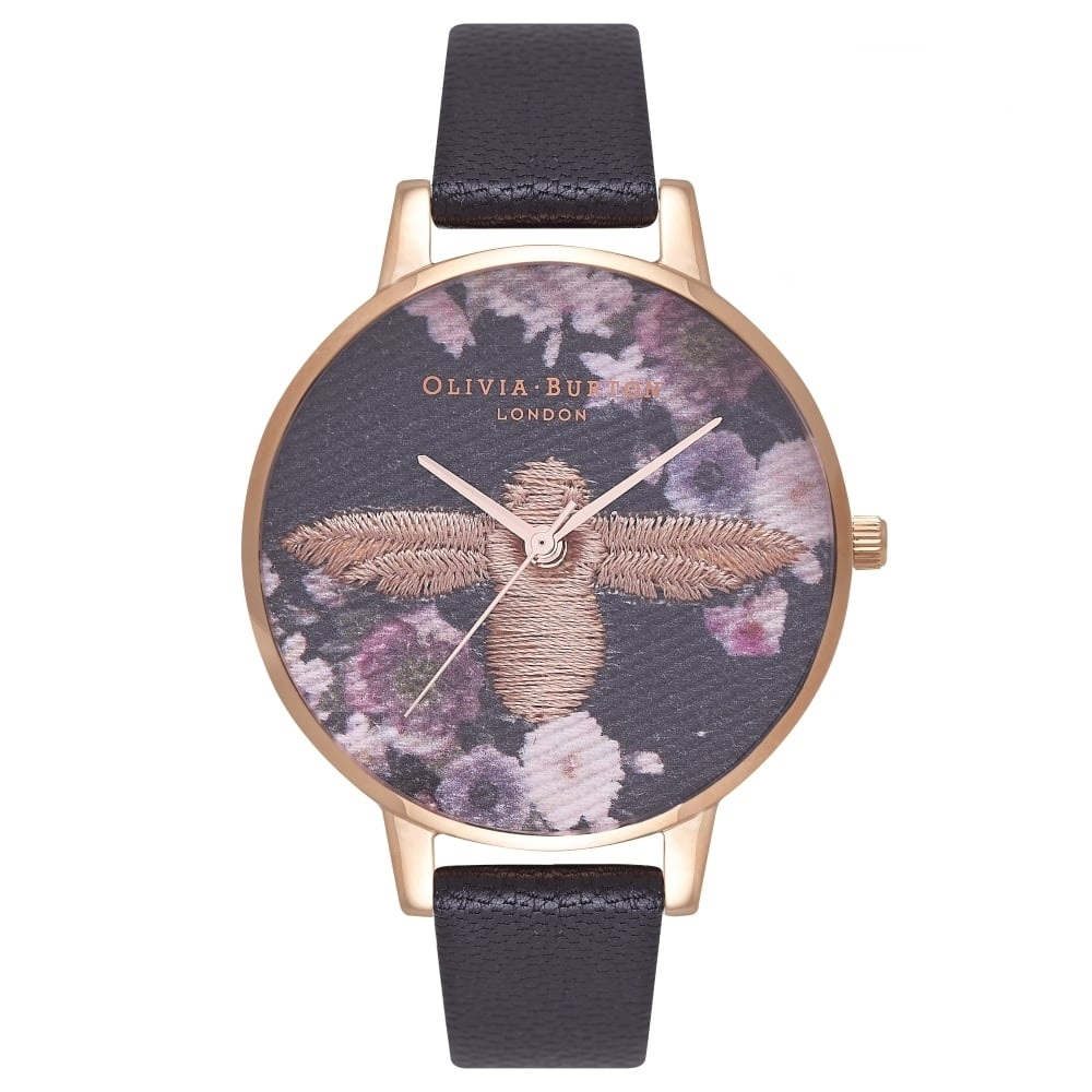 Image of   Olivia Burton Embroidered Dial Black & Rose Gold