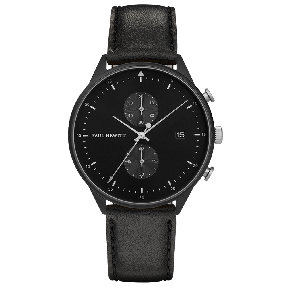 Image of   Paul Hewitt Chrono Line Black Sunray Stainless Steel Black Leather