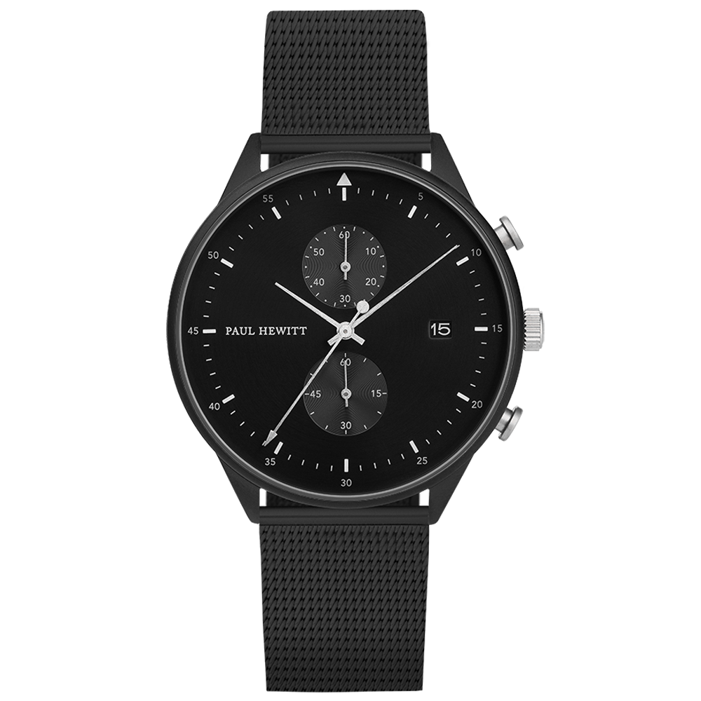 Image of   Paul Hewitt Chrono Line Black Sunray Stainless Steel Mesh