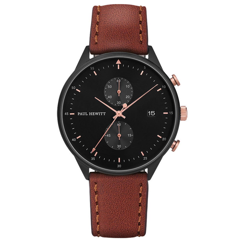 Image of   Paul Hewitt Chrono Line Black Sunray Rose Gold Brown Leather