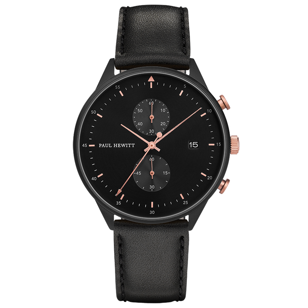 Image of   Paul Hewitt Chrono Line Black Sunray Rose Gold Leather
