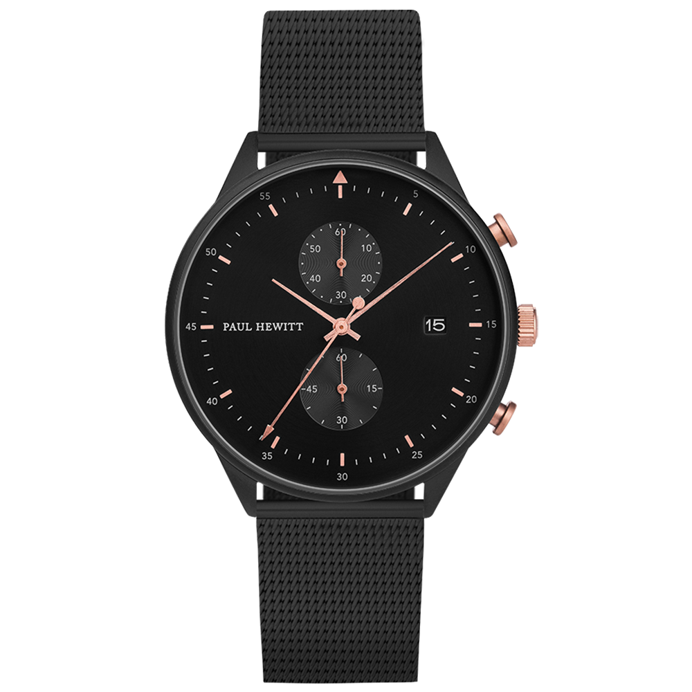 Image of   Paul Hewitt Chrono Line Black Sunray Rose Gold Mesh