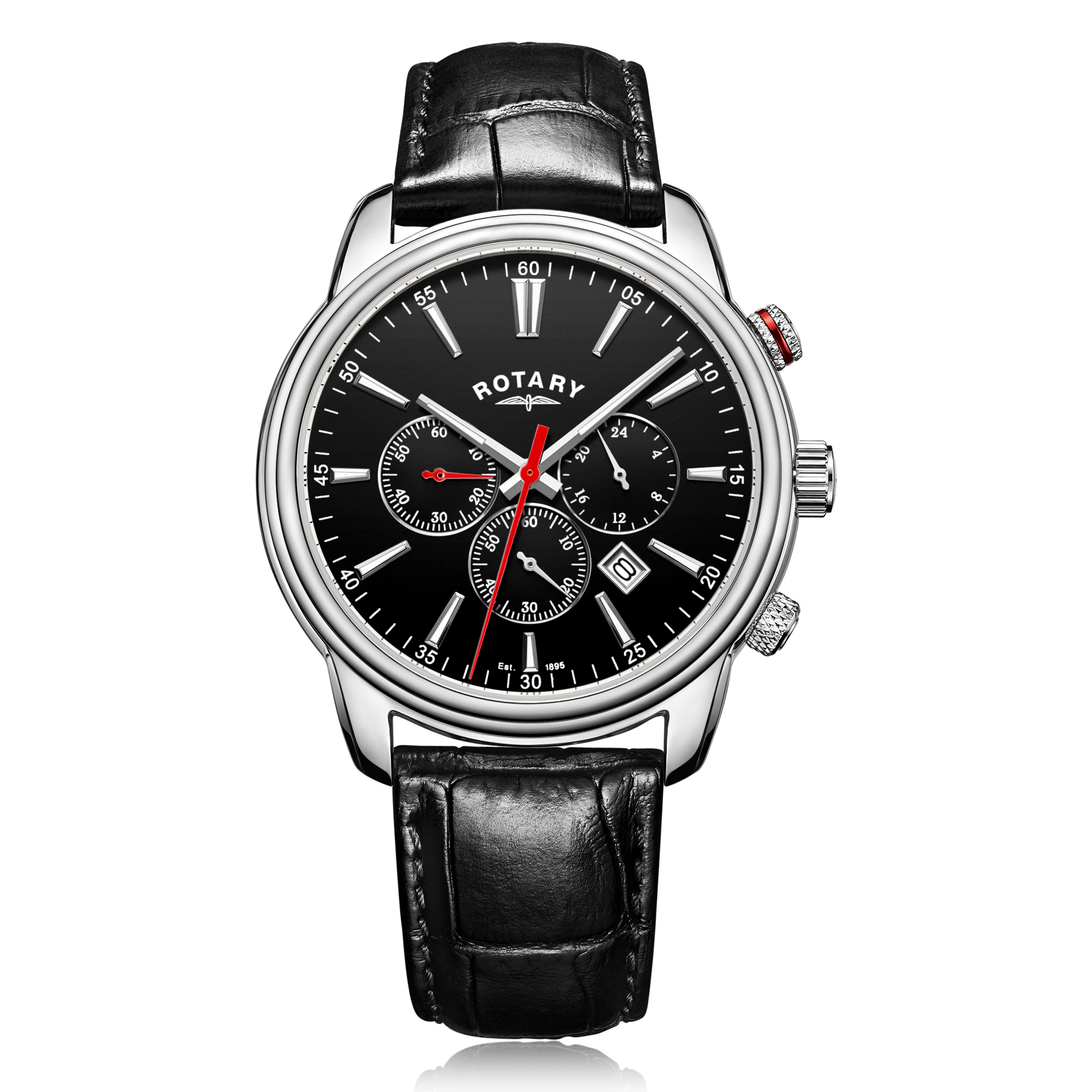 Image of   Rotary Monaco Mens Chronograph with Black Strap GS05083/04