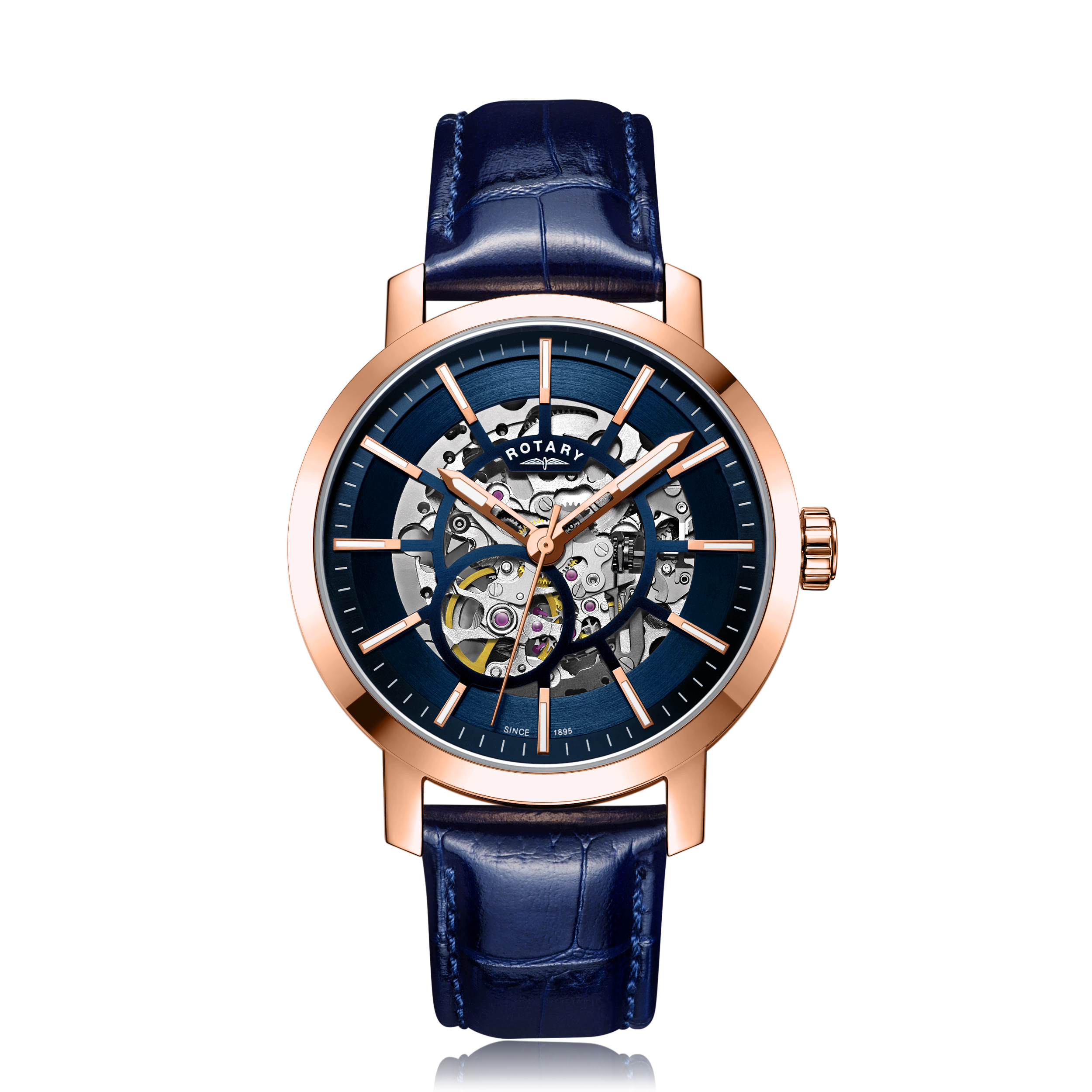 Image of   Rotary Gents Rose Gold PVD Greenwich Skeleton GS05354/05