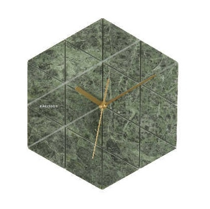Image of   Karlsson Wall clock Marble Hexagon green