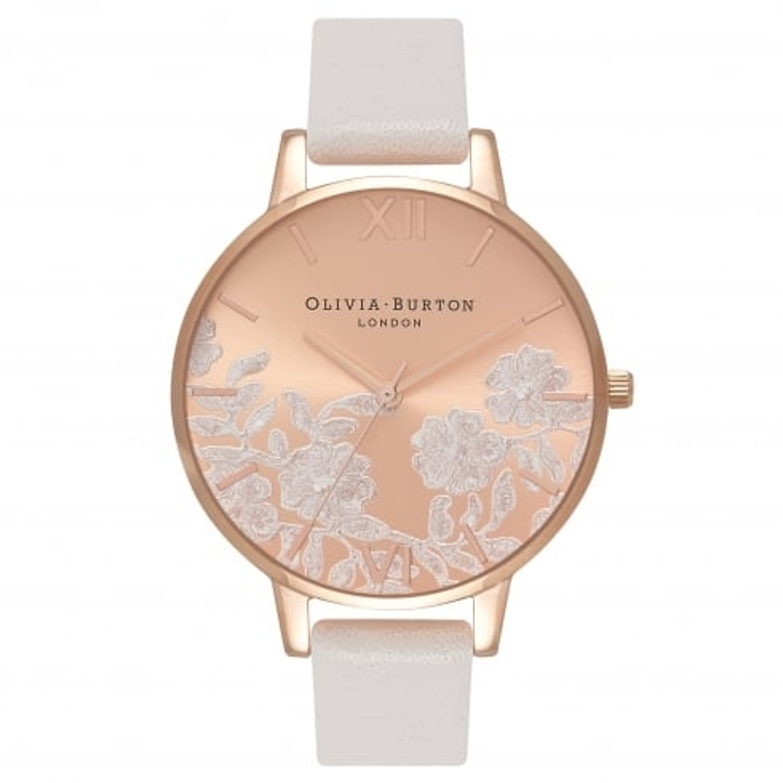 Image of   Olivia Burton Lace Detail Blush & Rose Gold