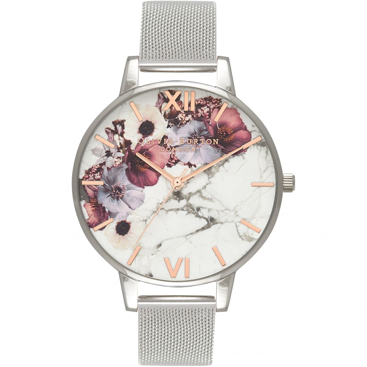 Image of   Olivia Burton Marble Floral Mesh Rose Gold & Silver