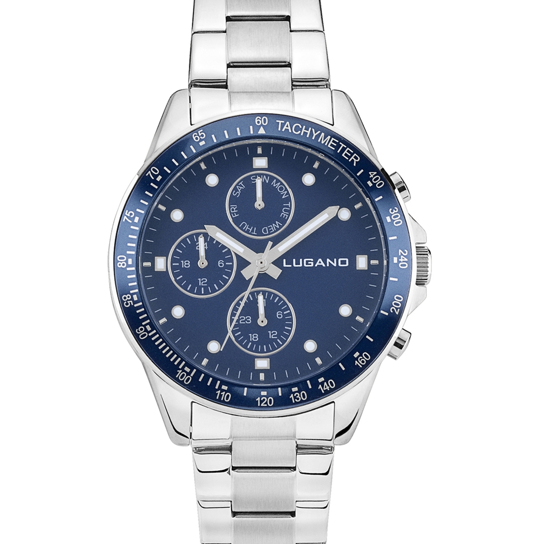 Image of   Lugano Chrono Steel/Blue