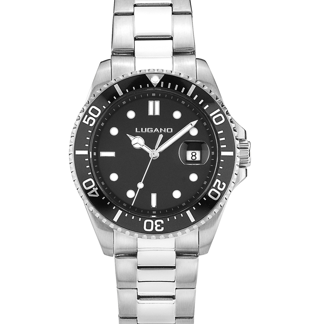 Image of   Lugano Diver Steel/Black