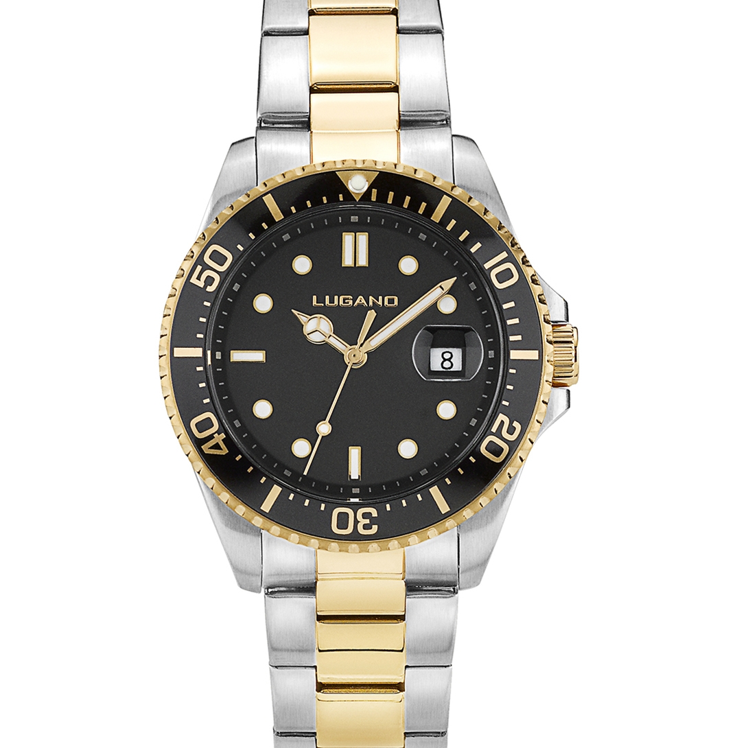 Image of   Lugano Diver Steel/Gold/Black