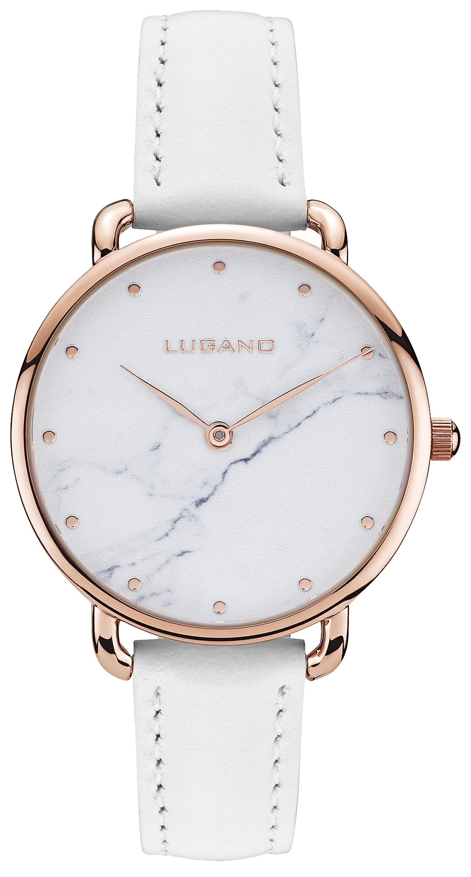 Image of   Lugano Rose Gold White leather Marble