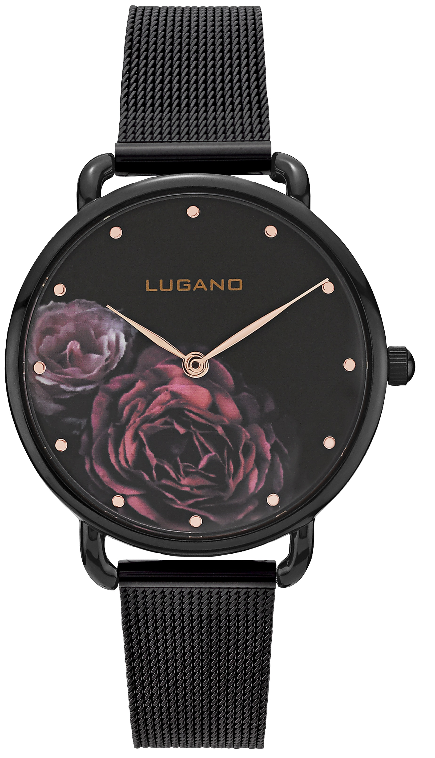 Image of   Lugano Black Mesh Floral