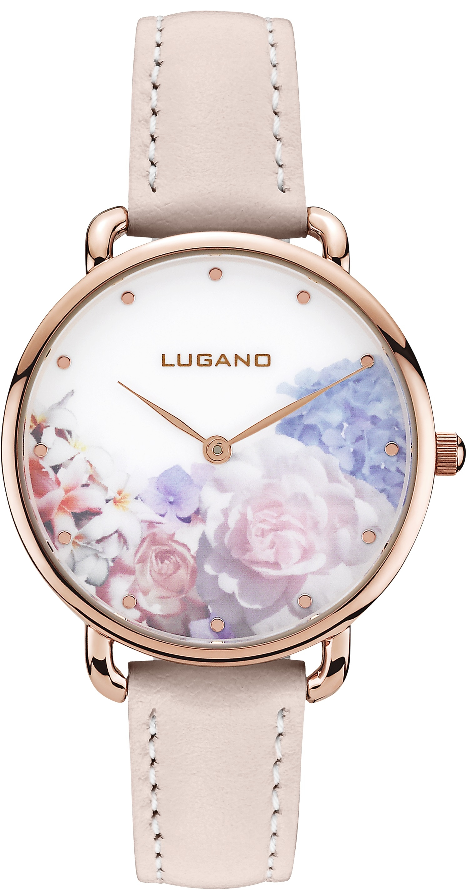 Image of   Lugano Rose Gold Pink leather Floral