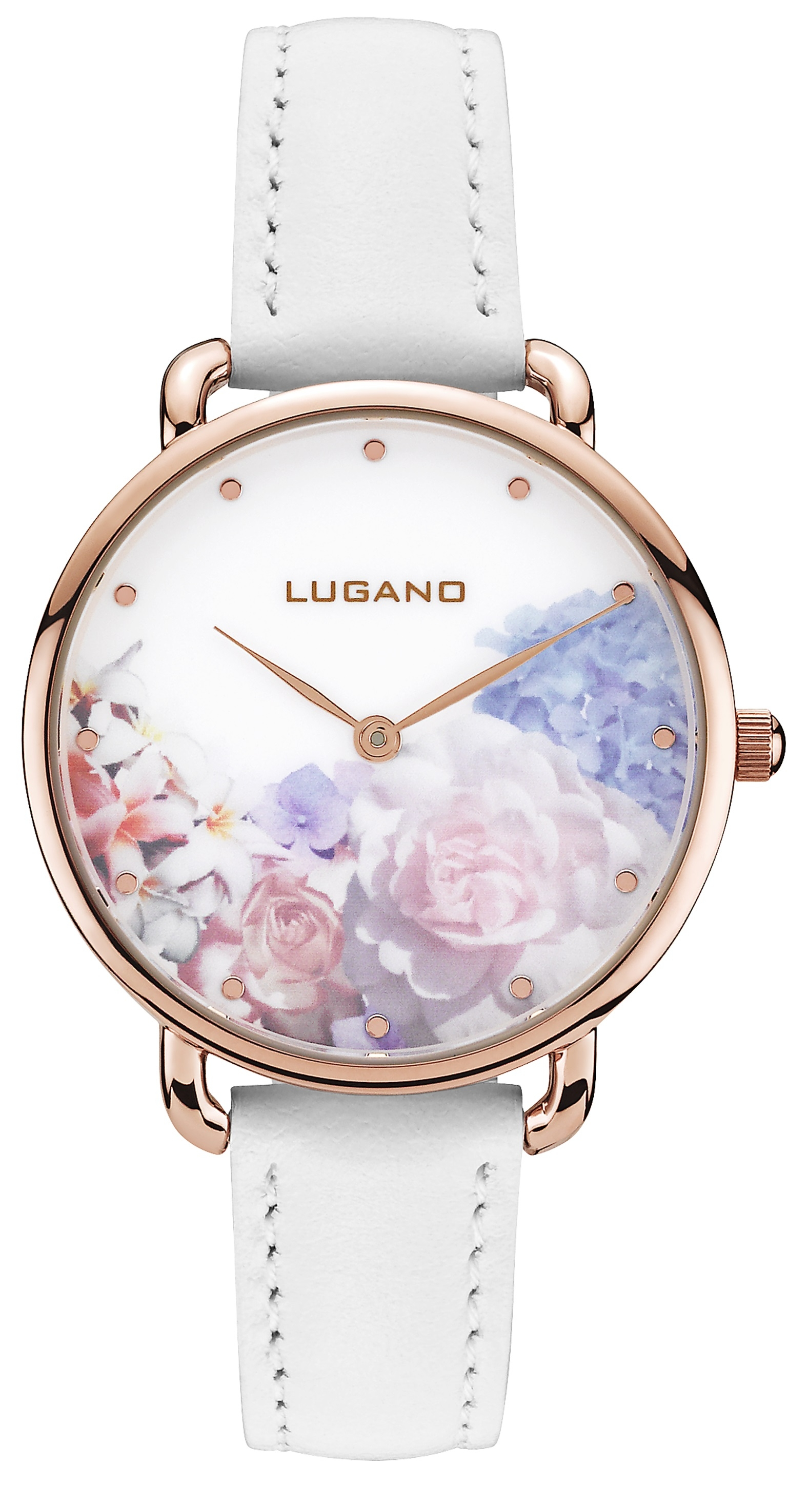 Image of   Lugano Rose Gold White leather Floral