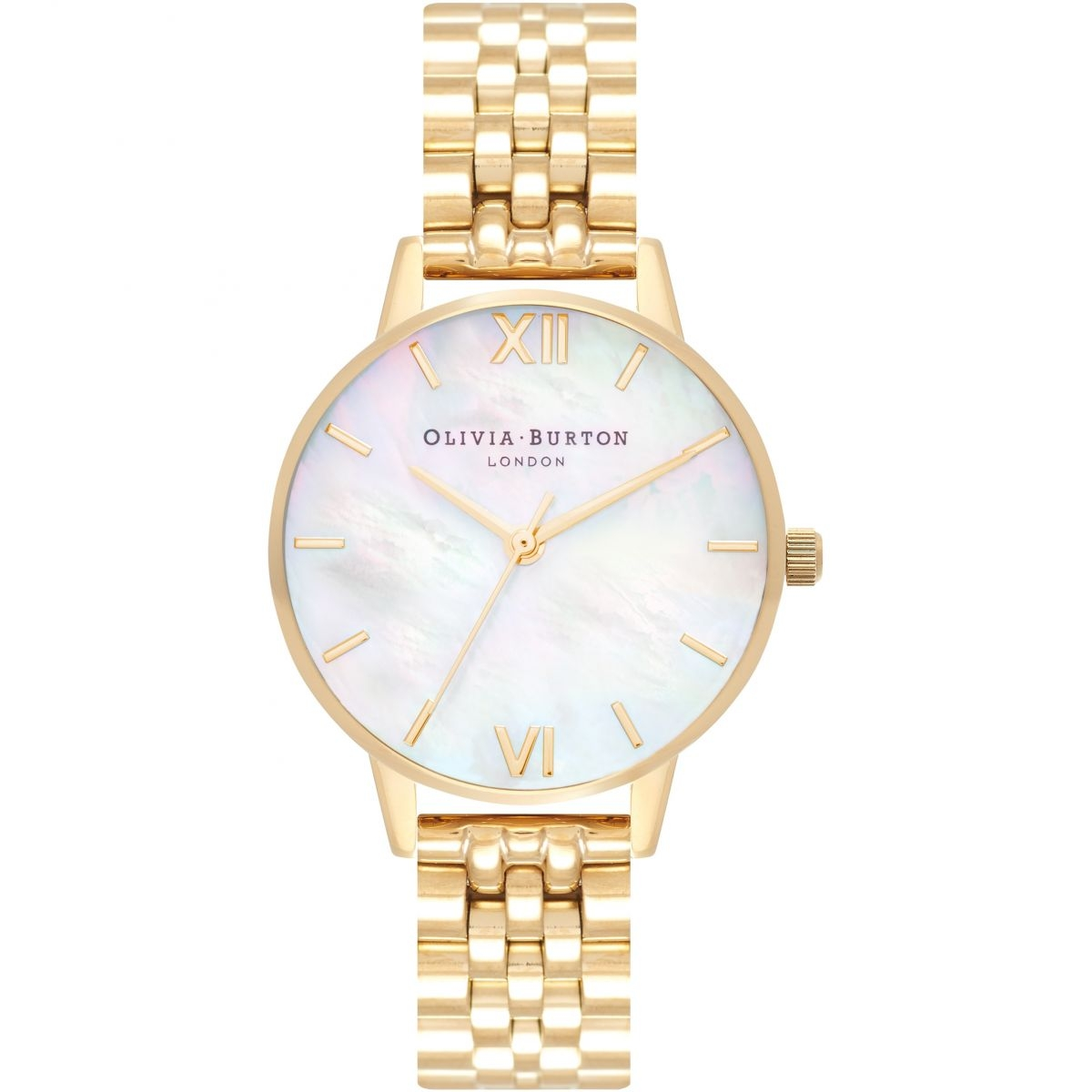 Image of   Olivia Burton Mother Of Pearl White Bracelet Gold