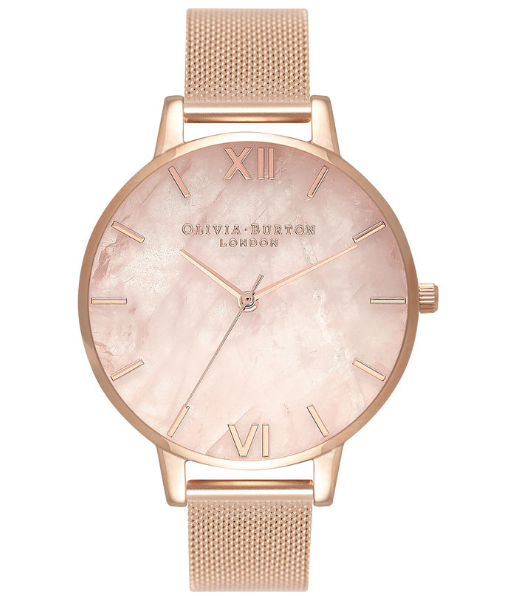 Image of   Olivia Burton Semi Precious Rose Gold Mesh