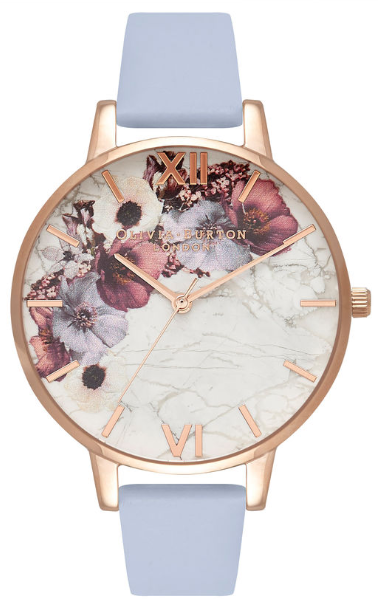Image of   Olivia Burton Floral Blue & Rose Gold