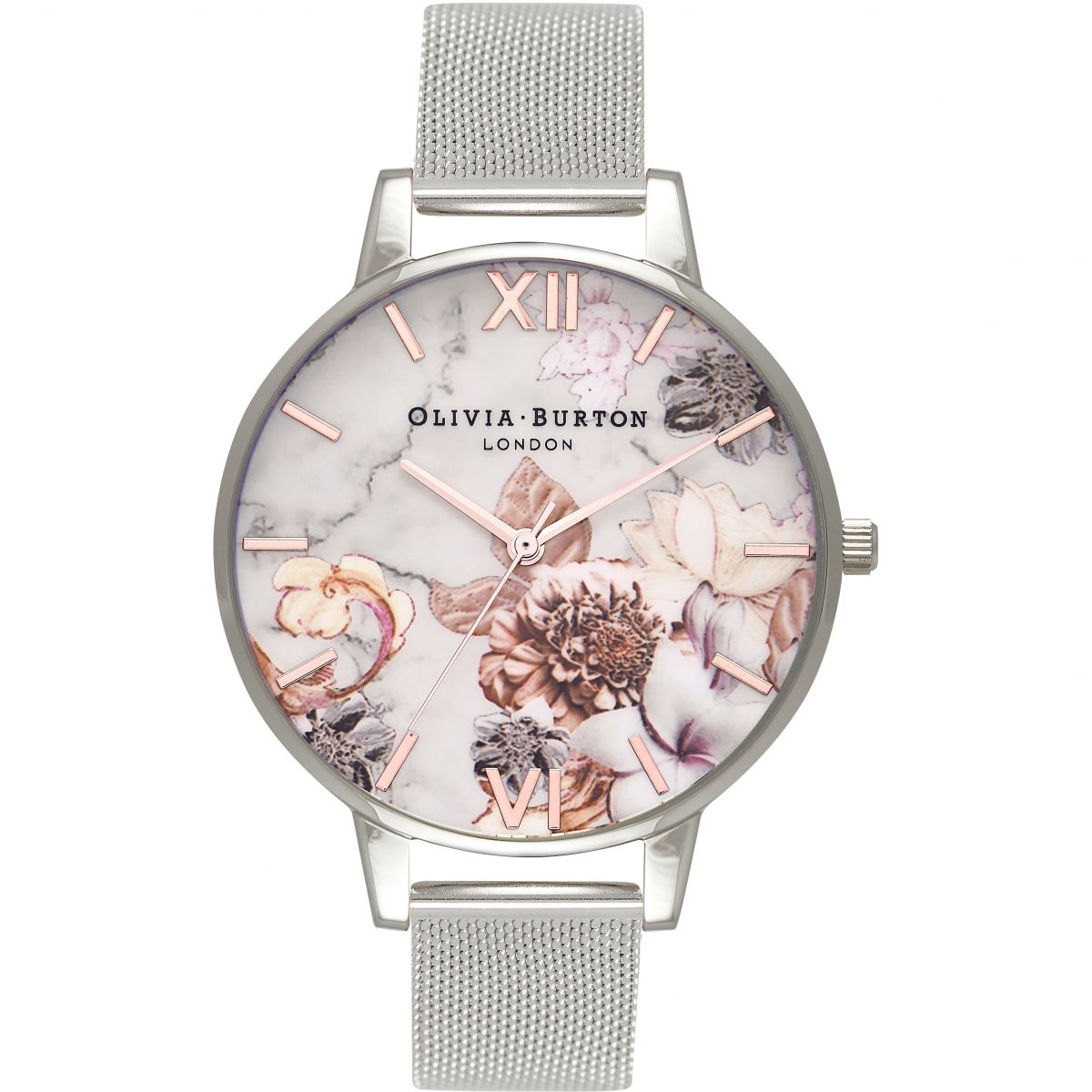 Image of   Olivia Burton Marble Floral Mesh Silver