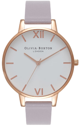 Image of   Olivia Burton White Dial Grey Lilac & Rose Gold