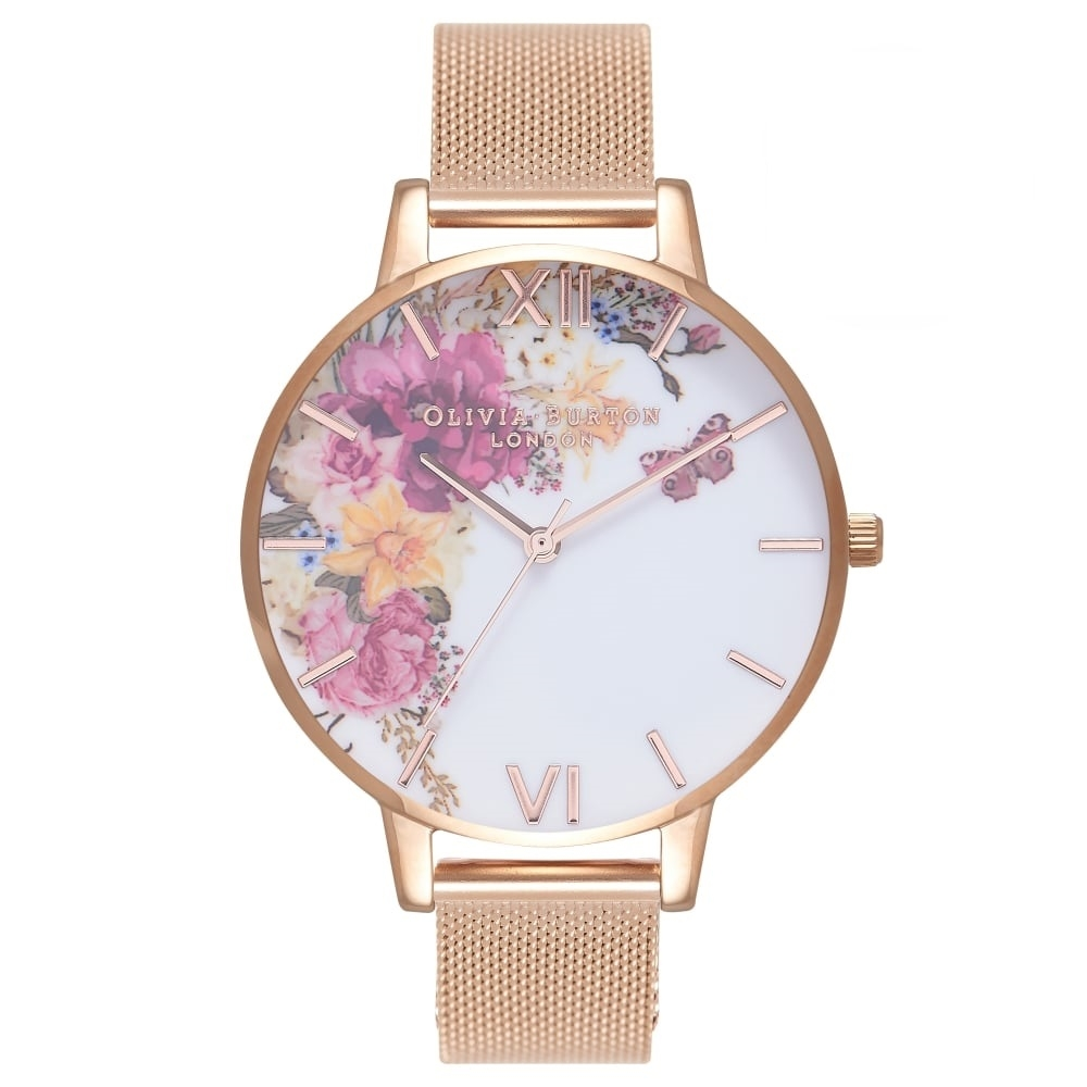 Image of   Olivia Burton Enchanted Garden Rose Gold Mesh