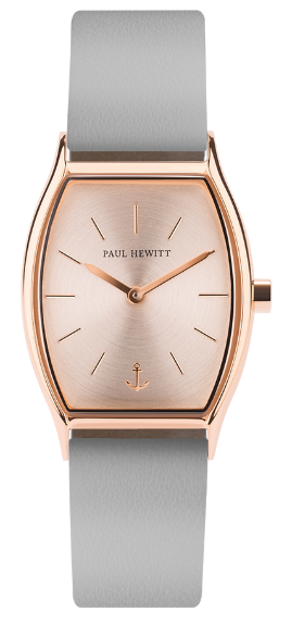 Image of   Paul Hewitt Rose Sunray IP Rose Gold Leather Watch Strap Graphite