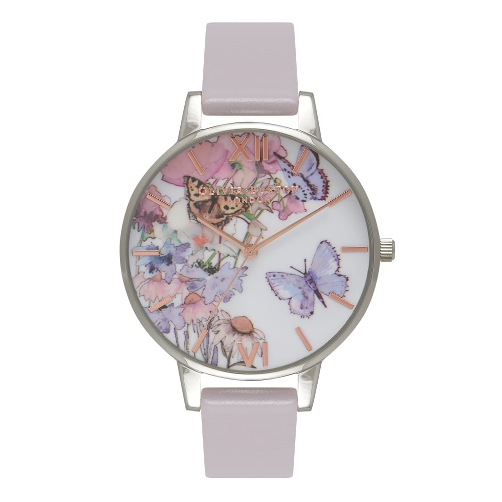 Olivia Burton Painterly Prints Butterfly Grey Lilac, Silver & Rose Gold