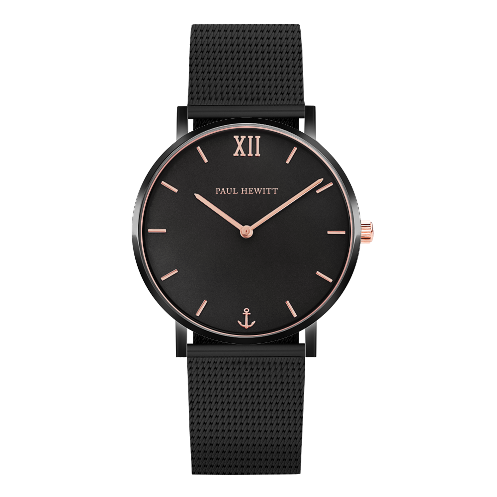 Paul Hewitt Sailor Line Black Sunray Mesh Strap Black