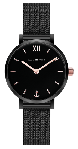 Image of   Paul Hewitt Black Sunray IP Black / Rose Gold Mesh