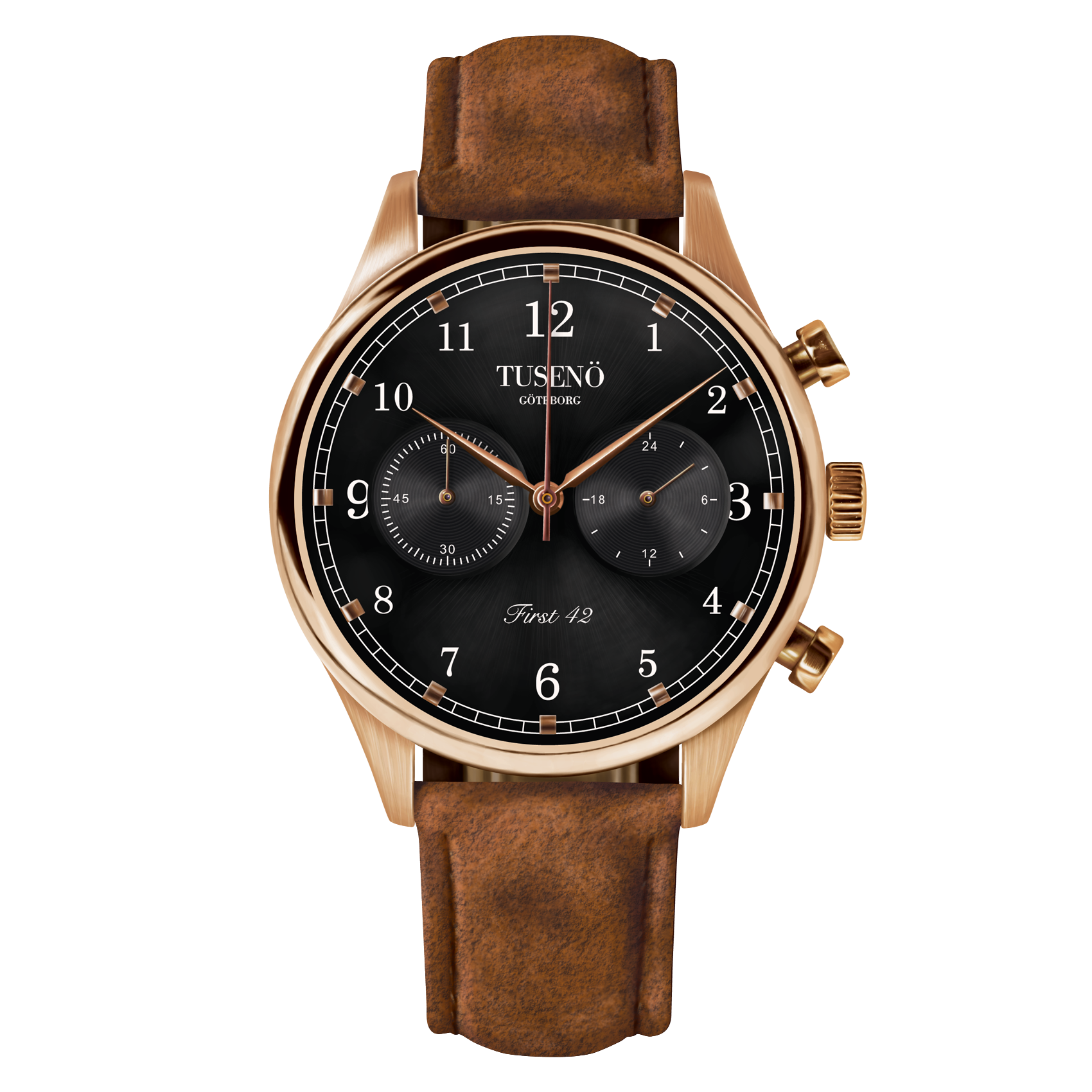 Image of   Tusenö FIRST 42 ROSE GOLD/BLACK BROWN SUEDE STRAP
