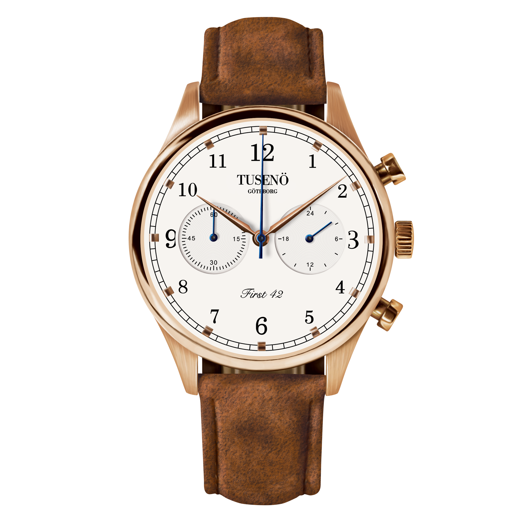 Image of   Tusenö FIRST 42 ROSE GOLD/WHITE BROWN SUEDE STRAP